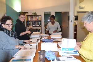A huge thank you to the volunteers helping with the annual Purple Ribbon Campaign mailout: (L-R): Karen, Sean, Teyumbar, and Pat. Missing from photo: Daniel.