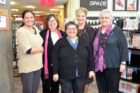 L to R: Judy Clark, President of the Aboriginal Women's Association; Julie Pellissier-Lush, Vice-President of the Aboriginal Women's Association, Elder Kathy Knockwood Archer, Hon. Valerie Docherty, Minister Responsible for the Status of Women, and Diane Kays, Chairperson of the PEI Advisory Council on the Status of Women.