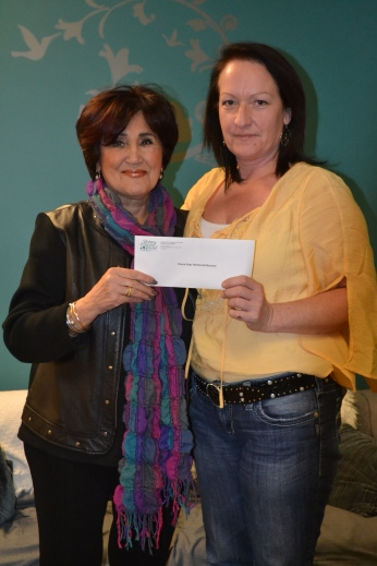L-R: Doreen Kays presents cheque to Marilyn Enman, winner of the Diane Kays Memorial Bursary.