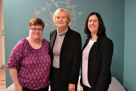 L-R: Chairperson Kelly Robinson meets with Senator Elizabeth Hubley, and policy analyst Melanie Nicholson.