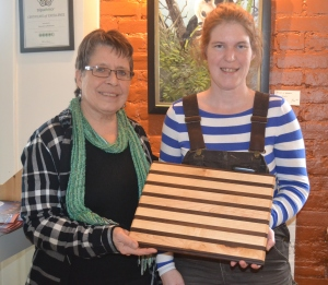And thanks to Melissa for the beautiful cutting board she made from maple and walnut.