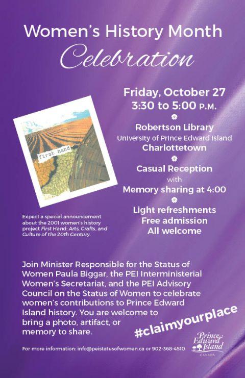 women's history month | Women's Equality Prince Edward Island