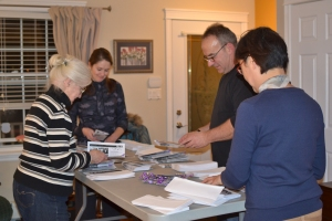Volunteers helping with the annual Purple Ribbon Campaign mailout. Thanks to Kate, Karen, Irma, and Dan.